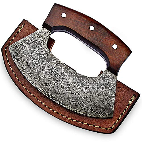 Smsr-9891 - Handmade Damascus Steel Ulu Knife, Ulu With Sheath, Solid Rose Wood Handle