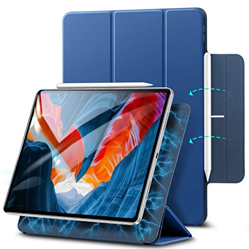 ESR Magnetic Case Compatible with iPad Pro 12.9 Inch 2021, Smart Case with Rebound Magnetic Attachment, Auto Sleep and Wake, Pencil 2 Support, and Trifold Stand, Blue