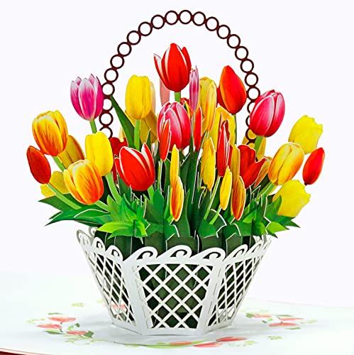 CUTPOPUP Tulip Flowers Basket Pop Up Card , Pop Up Flower Cards, Handmade Flower Greeting Cards, 3D...