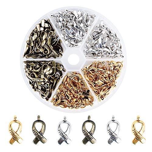 PandaHall Acerca de 80 colgantes de cinta de concienciación sobre el cáncer de mama con esperanza para hacer joyas, pulseras, manualidades a granel