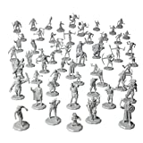 56 Unpainted Fantasy Mini Figures- All Unique Designs- 1' Hex-Sized Compatible with DND Dungeons and Dragons & Pathfinder and RPG Tabletop Games- Features Goblins, Orcs, Gnolls, Skeletons & More