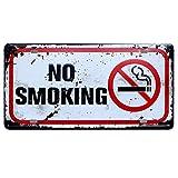 Dosige Retro Metal Sign Shabby Chic Cartello pubblicitario da Parete, No Smoking, Targa in...