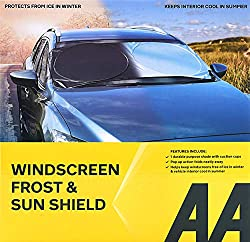 Easy pop-up action, easy to fit, folds neatly away Protects from ice in winter Keeps car cool in summer Durable and lightweight Dual purpose shade, use for both winter and summer