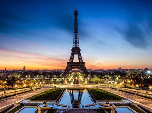 wandmotiv24 Fototapete Eiffelturm bei Nacht Frankreich Größe: 350 x 260 cm Wandbild, Motivtapete, Vlietapete KTk266