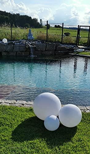 Trango 3er Set 23500 IP44 Gartenkugel in Weiß mit 20/30/50cm Durchmesser *GARDEN* Kugelleuchte mit je E27 LED Leuchtmittel & je ca. 5 Meter IP44 Kabel, Gartenleuchte, Leuchtkugel, Gartenlampe
