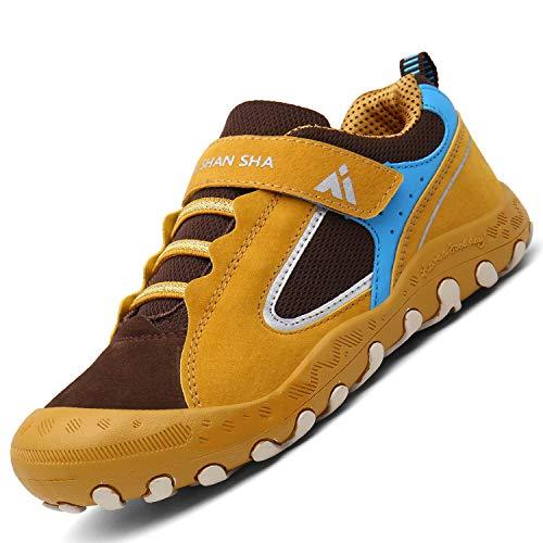 Mishansha Jungen Mädchen Lässige Schuhe rutschfest Gummi Walkingschuhe Weich Flexibel Stabil Fitnessschuhe 2020 Freizeitschuhe Schuhe für Die Schule Stoßdämpfung Sport Schuhe Wanderschuhe, Gelb 34