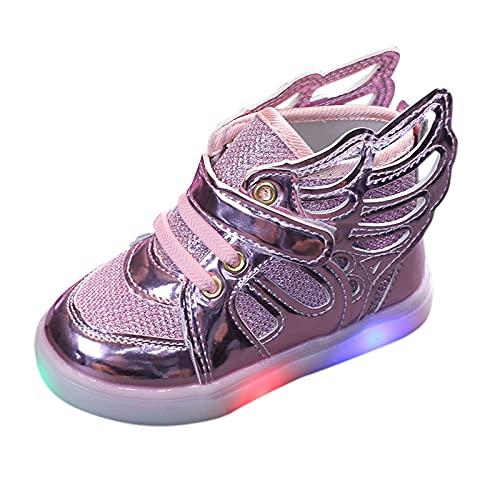 Unsex Mary Jane Sneaker Lauflernschuhe mit LED-Lichtleuchte Prinzessin Schuhe Kinder Sandalen Partei Schuhe Kostüm Zubehör Karneval Verkleidung Party Aufführung Fasching Tanzball (Rosa, 23)