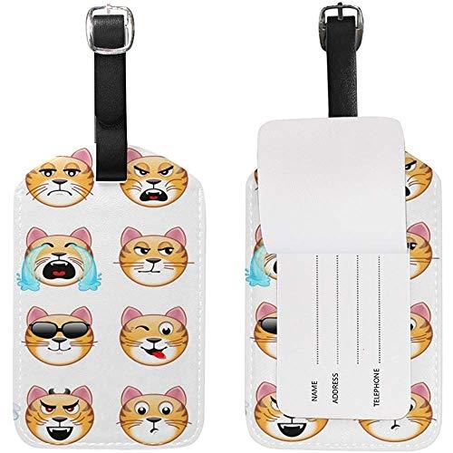Cute Tiger Emoji Etiqueta de Equipaje Etiqueta de identificación de Viaje Cuero para Maleta de Equipaje 2 Piezas