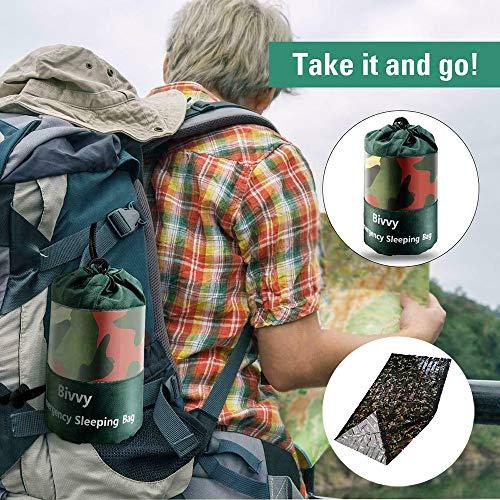Turbobm Saco de Dormir de Camuflaje Saco de Dormir de Emergencia Reutilizable Resistente al Agua Supervivencia térmica Camping para Viajar, Acampar, Caminar, Actividades al Aire Libre