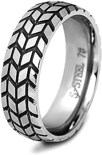Unisexo 6MM Tire Creativo Motorista Anillo Hombre Mujer Acero Inoxidable