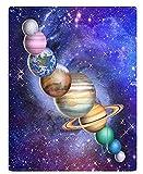 XZDPPTBLN Mantas de Franela Súper Suave de Lana Planeta Estrellado Azul Mantas con Estampados Esponjosa y Cálida Mantas para la Cama y el Sofá 150cm x 200cm
