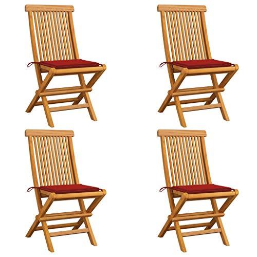 vidaXL 4X Madera de Teca Sillas de Jardín con Cojines Asiento Patio Terraza Balcón Muebles Mobiliario Cocina Comedor Exterior Respaldo Rojos