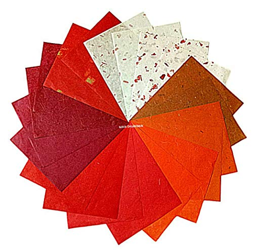 NAVA CHIANGMAI Thin Standard Color of Mulberry Paper Sheets Paper Decorative DIY Craft Scrapbook Wedding Decorative Mulberry Paper Art Tissue Japan (Mixed Red)