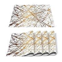テーブルランナー、マーブルクラックパターンブラックホワイト、ホームキッチンパーティー結婚式の感謝祭ディナーパーティーテーブル装飾(36cm x 183cm),4pcs Table mat