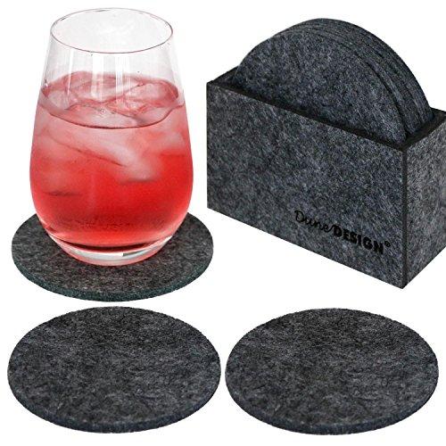 DuneDesign Set di 8 Sottobicchieri tondi Ø 10cm incl Box Feltro Sintetico Grigio