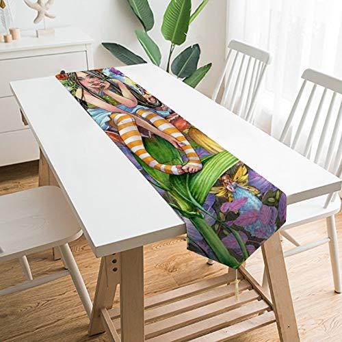 Chemin de table de 177,8 x 33 cm - L'esprit de fleur repose sur une fleur - Décoration de table pour mariage, linge de table, décorations de table en plein air, pique-nique, table à manger