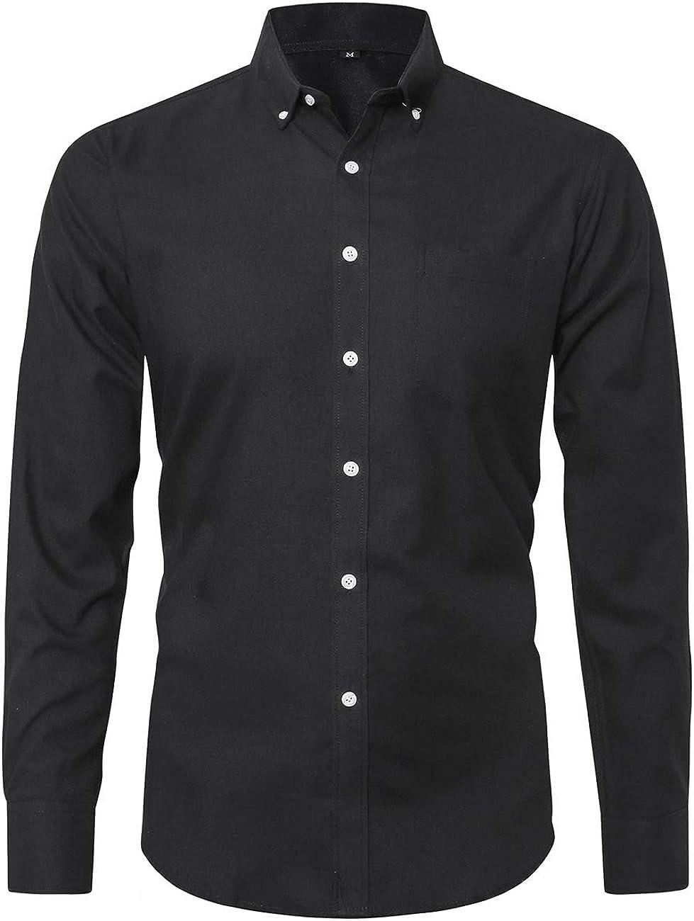 Dioufond Oxford Shirts for Men Cotton Mens Button Down Shirts