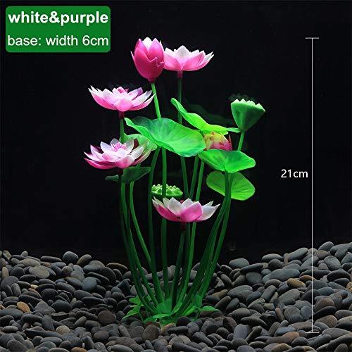 NO LOGO SFFSMD Künstliche Aquarium Lotuspflanze Dekoration Landschaftsbau Wasser Gras Aquarium Ornamente Lotus Flower Aquatic Dekor Hintergrund (Farbe : 170White Purple, Größe : 1pcs)