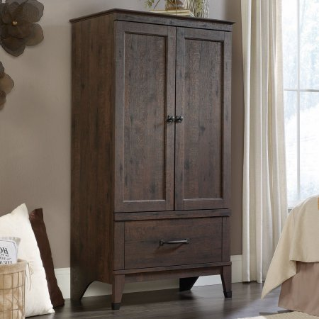 Wood Bedroom Armoire with Bottom Drawer, Sturdy Construction, Two Frame and Panel Doors, Garment Rod, Clothing Organizer, Plenty of Space, Coffee Oak Finish