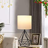 Depuley Geometric Table Lamp, Modern Black Table Lamp for Living Room, Metal Desk Lamp with Hollowed Out Base, 5W Bedside Nightstand Lamps with Fabric Shade for Bedroom, Office (E26 Bulb Incl.)