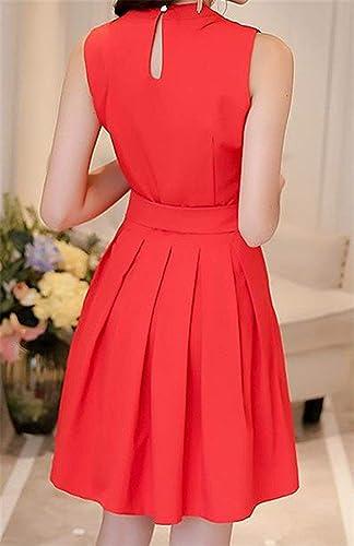 MJY Mini robe sans hommeches plissée à la mode féminine',rouge,-Petit