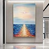 JHGJHK Pintura al óleo Abstracta del Paisaje del océano de la Puesta del Sol Pintura sin Marco Decoración Sala de Estar Decoración del hogar (Imagen 3)