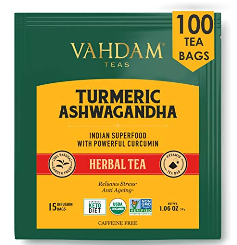 VAHDAM, Turmeric + Ashwagandha SUPERFOOD Herbal Tea, 100 Count | India