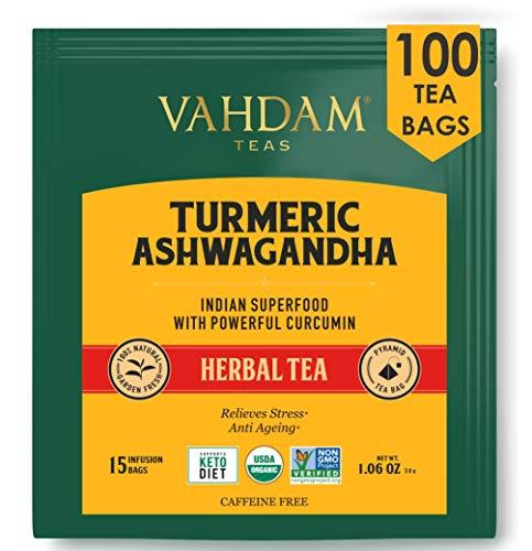 VAHDAM, Kurkuma + Ashwagandha SUPERFOOD Kräutertee, 100 Anzahl | Indiens alte Mischung aus Kurkuma & Gartenfrischen Gewürzen | Kurkuma Teebeutel | Kräuterteebeutel | Entgiftungstee | Kräutertee 100