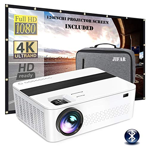 Bluetooth Native 1080p Projector with 120' Projector Screen & Bag,9000 Lux 4k Projector for Outdoor Movies with 450'Display,Support Dolby & Zoom,Compatible with TV Stick,HDMI,VGA.USB,Smartphone,PC