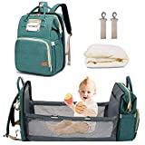 3 in 1 Diaper Bag Backpack with Changing Station, Portable Baby Travel Bassinet ,Mommy Bag with Bed , Foldable Waterproof Crib Infant Shower Gifts for Baby Girls Boys (Green)