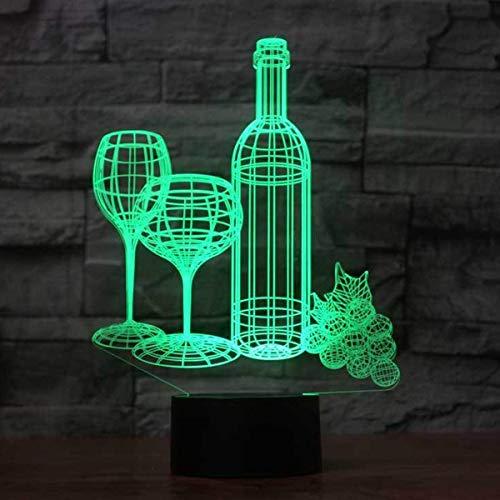 Kleurrijke Fles 3D Table Lamp Wijn 3D Night Light aanraking afstandsbediening belangrijkste 3D Gift Night Light,Black
