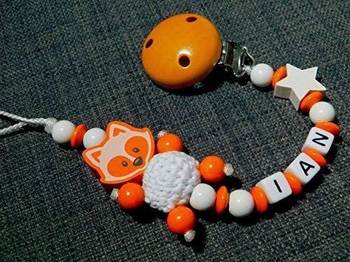 Schnullerkette mit Namen für Jungen in weiß-orange mit Fuchs und Stern -geschenk zur Geburt-Schnullerhalter