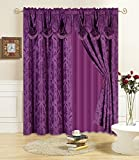 All American Collection New 4 Piece Drape Set with Attached Valance and Sheer with 2 Tie Backs Included (84' Length, Purple)