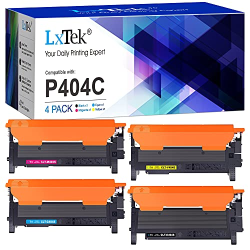 LxTek Compatible Cartuchos de Tóner Reemplazo para Samsung 404S CLT-P404C para Xpress SL C430 C430W C480 C480W C480FN C480FW (1 Negro/1 Cian/1 Magenta/1 Amarillo, 4-Pack)