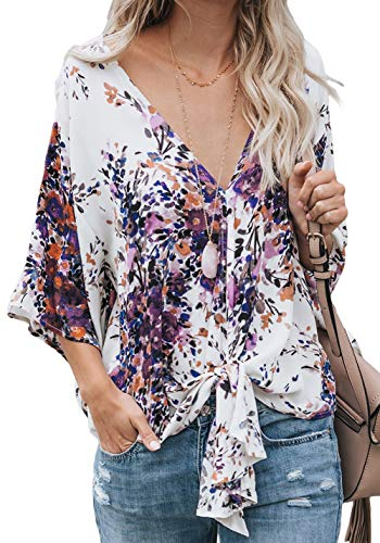 Womens Deep V Neck Tops 3/4 Sleeve Tie Knot Front Casual Blouse Tops Summer Chiffon Shirts Floral Purple L