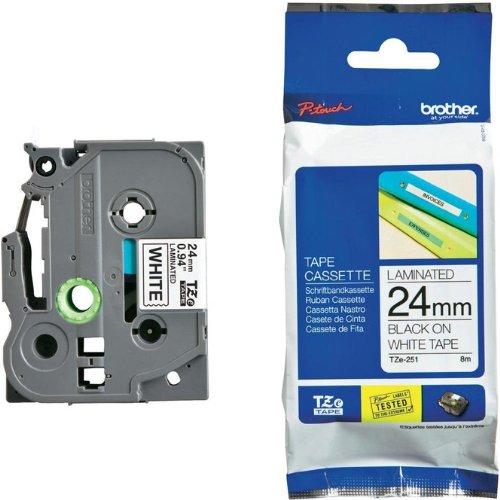 Beschriftungsband TZFX251 für Brother P-touch, Schwarz auf Weiss, 24 mm, Schriftband TZ-FX251, TZe-FX251, TZeFX251, 24mm breit, 8mtr.
