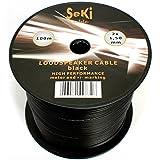 Cable para altavoz (2 x 1,50 mm², 100 m, CCA, cable de audio), color negro