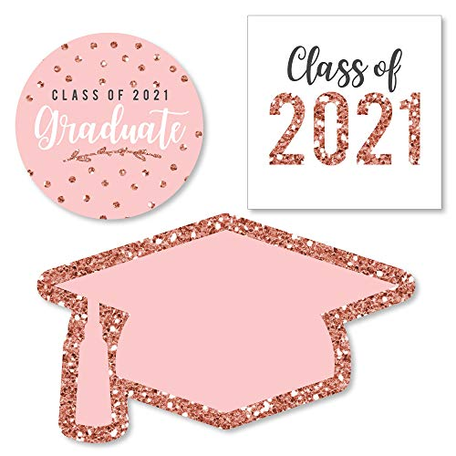 Big Dot of Happiness Rose Gold Grad - DIY Shaped 2021 Graduation Party Cut-Outs - 24 Count