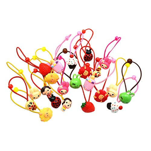 VALICLUD 24PCS Cute Cartoon Elastic Hair Ties Baby Girls Assorted Rope Rubber Band Princess Ponytail Holder for Kids Toddlers