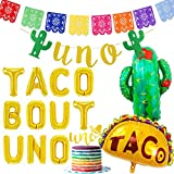 Fiesta First Birthday Party Decorations TACO BOUT UNO Balloons Picado Banner Cake Topper for Boy or Girl Mexican 1st Birthday Party Set