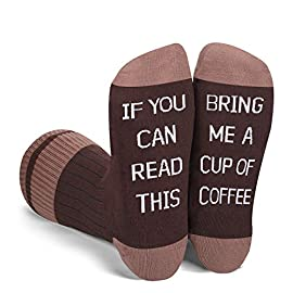 """Zmart Women's If You Can Read This Funny Saying Socks Bring Me Taco Donuts Beer Wine Coffee Tea Gifts Socks 2 ★【SIZE & PACKING】Funny donuts socks for women. Sock size 9-11 is fit for women shoe size 4 to 9; 1 pair comes in each plastic zippered Zmart bag. ★【A FIESTA FOR YOUR FEET】If you can read this bring me donuts socks. The top of the socks feature colorful donuts, and the bottom is sewn with a Hilarious Hidden Message: """"If You Can Read This - Bring Me Donuts"""". Simply kick your shoes off and put up your feet up to display the succinct message to everyone around you. ★【SEWN IN LETTERING, NOT PRINTED】Funny socks for women with saying. All of the words are stitched directly into the socks rather than iron-on transfer, so it won't peel off. These Novelty and funny socks will make your friends giggle; here you go!"""