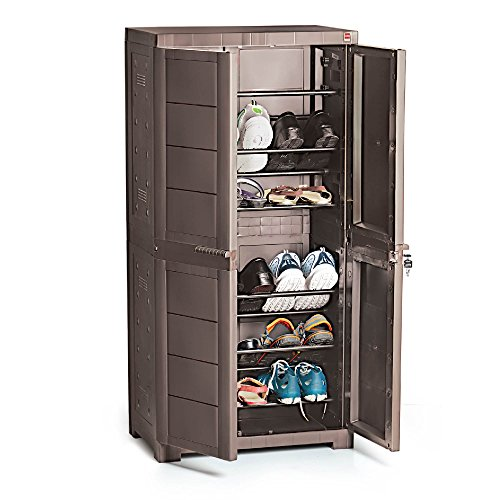 CelloNoveltyBig Plastic Shoe Rack with Lock(Brown)