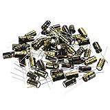 uxcell ラジアル電解コンデンサ 100uF 35V 105℃ 2000H 6.3 x 11 mm ブラック 50個入り