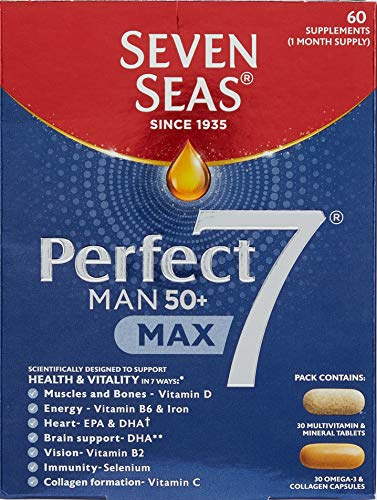 Seven Seas Perfect7 Prime Man 50+, Multivitamin And Minerals Tablet Plus Omega-3 & Collagen Capsule, Duo Pack ,30 Days Supply