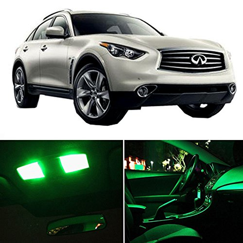 cciyu LED Interior Light Accessories Replacement Parts Replacement fit for Infiniti QX70 2014-2017 Package Kit Green Lights 11 Pack