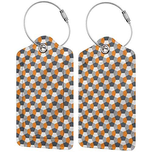 WINCAN Etiquetas para Equipaje,Azulejo Hexagonal Moderno,2 Piezas Etiquetas de Equipaje de Viaje Etiquetas de Identificación de la Maleta para Maletas,Mochila