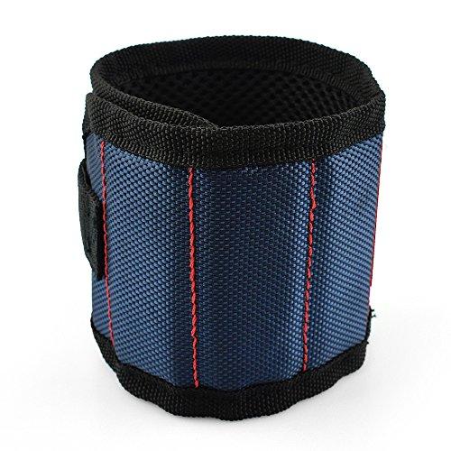 MINHER 1 unids Azul Pulsera magnética imanes súper fuertes y cierre de gancho y lazo para sujetar tornillos, tijeras, manualidades de bricolaje, portaherramientas pequeño