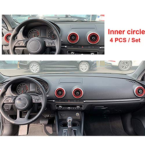 SPAKOWN Car Air Condition Air Vent Outlet Ring Cover Trim Decal Sticker 4 Pack Set AC Decoration Interior Accessories fit for Audi A3 S3 Q2L A1 (Red)