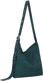 Ulisty Damen Cord Mode Schultertasche Beiläufig Handtasche Umhängetasche dunkelgrün