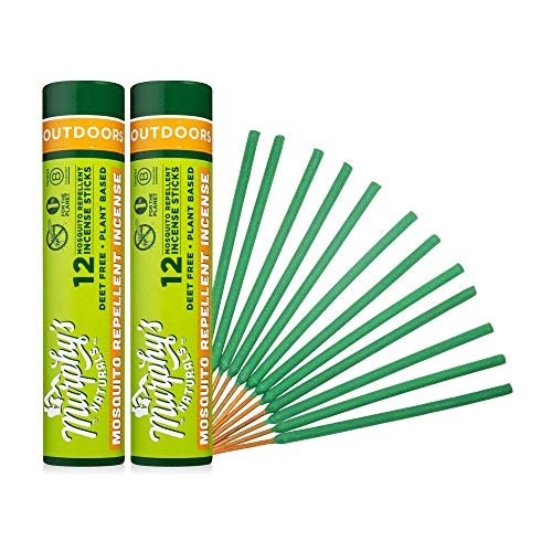 Murphy's Naturals Mosquito Repellent Incense Sticks | DEET Free with Plant Based Essential Oils | 2.5 Hour Protection | 12 Sticks per Tube | 2 Pack